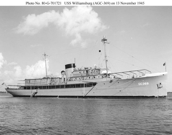 The U.S.S. Williamsburg, about three weeks after becoming the Presidential Yacht